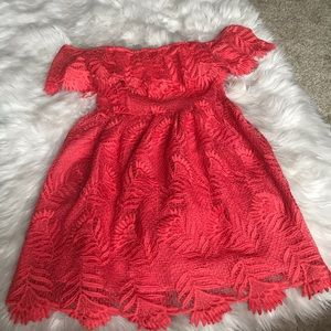 Lovers and Friends Coral red lace dress